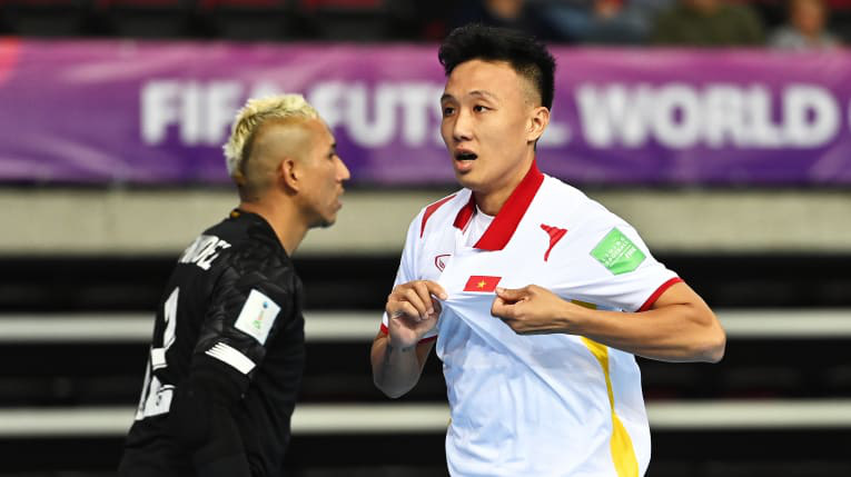 Vietnam's Nguyen Minh Tri celebrate after scoring against Panama in the FIFA Futsal World Cup match on September 16, 2021. Photo: Asian Football Confederation