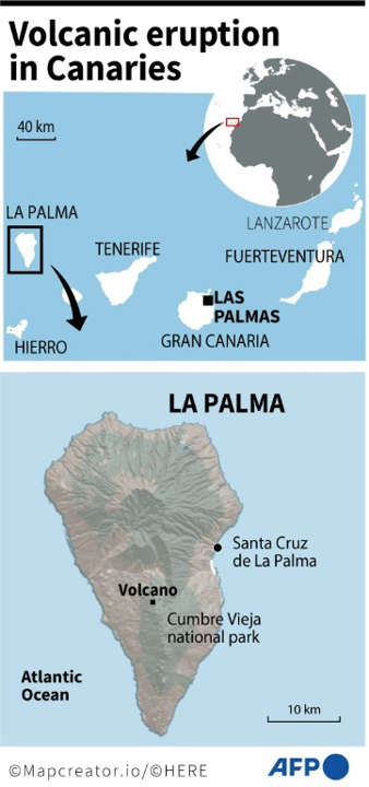 Spain: volcanic eruption in Canary Islands. Photo: AFP