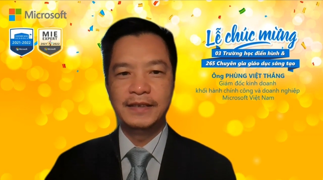Phung Viet Thang, sales director of Microsoft Vietnam, is pictured during the virtual ceremony on September 26, 2021