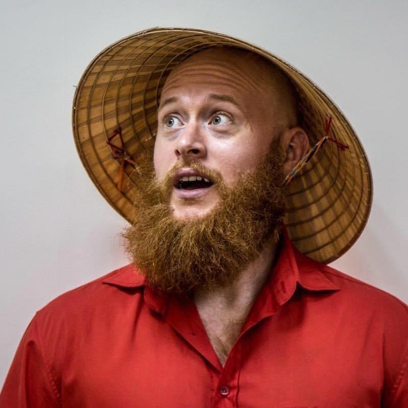 Brandon Hurley's trademark orange beard is a familiar site to Vietnam's netizens. Photo by courtesy of Brandon Hurley