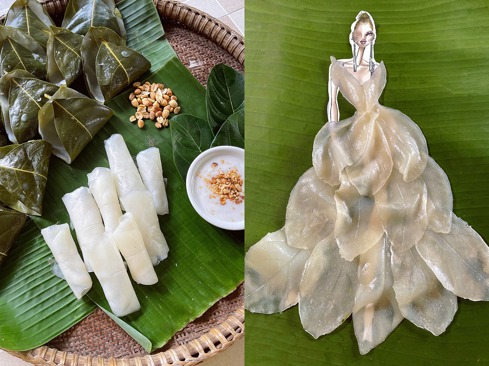The plunging neckline of this ivory-white garment wows fashionistas. It was made from jackfruit leaves and rice flour. After steaming, the 'banh la mit' (jackfruit leaf cake) shows layers of veins that resemble chiffon fabric texture.