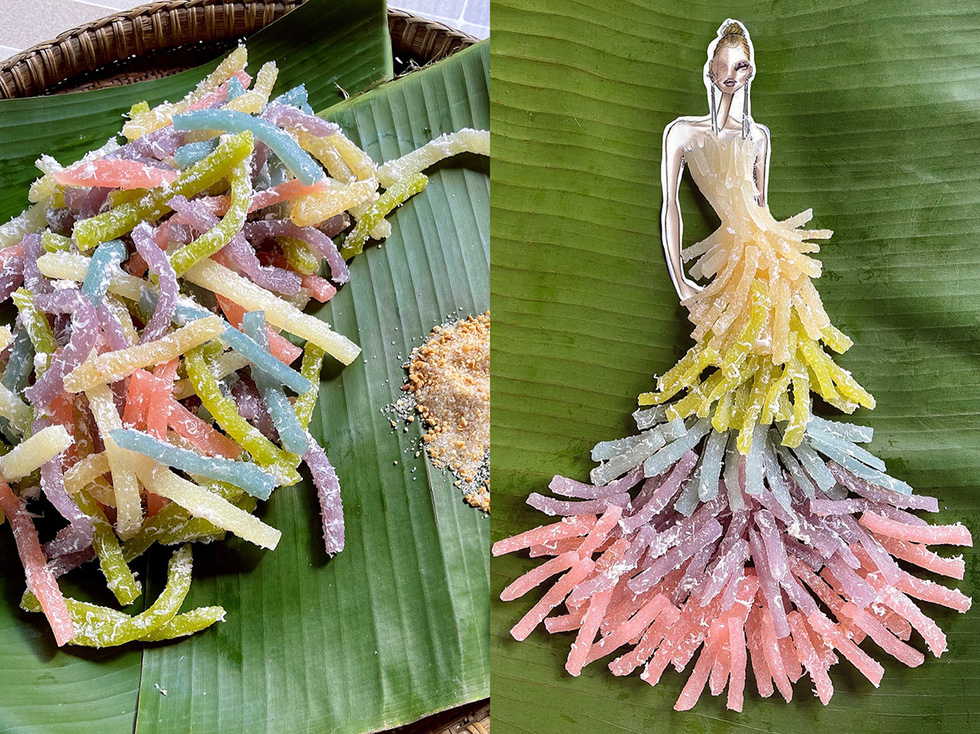 'Banh tam khoai mi' was used to create this design (silkworm steamed cassava cakes). The multicolored five-tier evening gown was skillfully set up by designer Nguyen Minh Cong, with the emphasis being the color shift from dark to light, giving lovely tassels. Moreover, the white shredded coconut creates the feathers as a highlight to give the outfit softness, flexibility, and elegance.