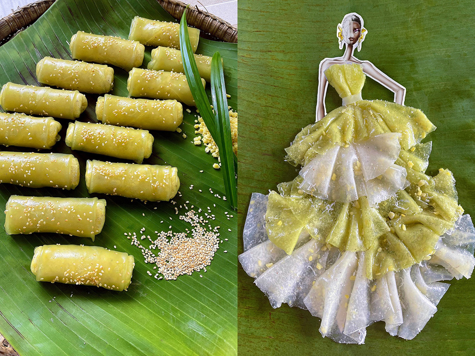 By mixing two hues of white and green, Nguyen Minh Cong creates a pleating layer using 'banh cuon ngot' (Vietnamese sweet steamed rice roll). In addition, he adds coconut and mung beans to imitate beads on the dress's body to make it more vibrant.
