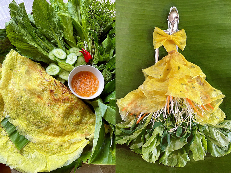 Cong uses the yellow color of 'banh xeo' (Vietnamese pancakes) to form a skirt layer, with the bottom of the skirt being the green color of lettuce, herbs, and bean sprouts creating white tassels.