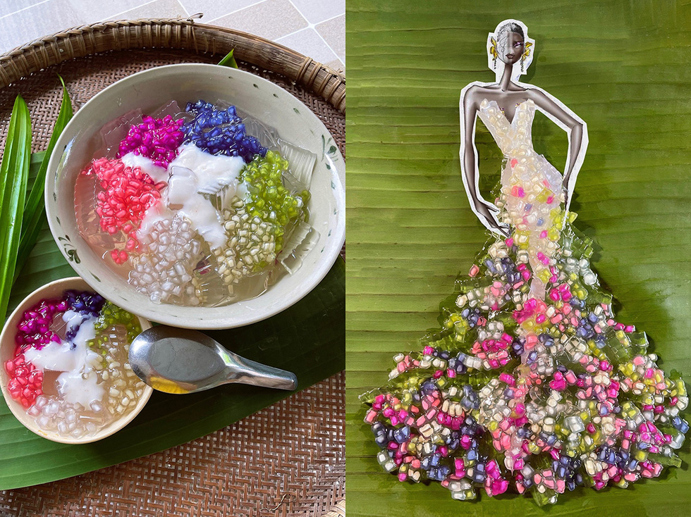 Designer Nguyen Minh Cong takes advantage of the vibrant colors of 'suong sa hot luu' (Vietnamese grass jelly dessert) to adorn this dress more luxurious.