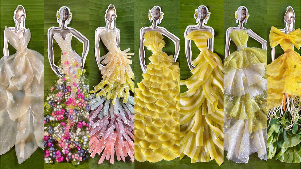 Vietnamese designer creates appetizing dresses out of traditional desserts