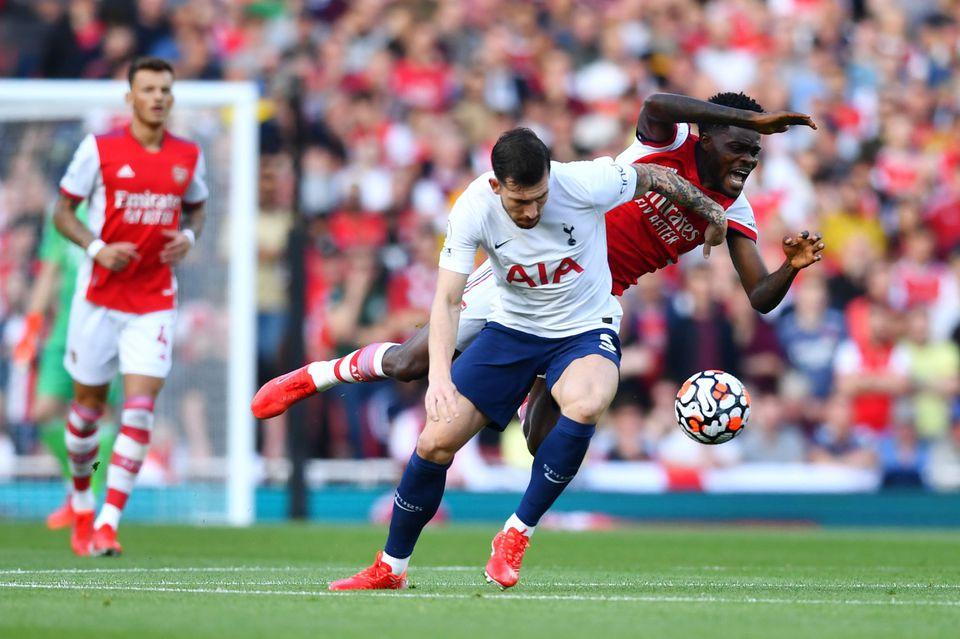 Soccer Football - Premier League - Arsenal v Tottenham Hotspur - Emirates Stadium, London, Britain - September 26, 2021 Arsenal's Thomas Partey in action with Tottenham Hotspur's Pierre-Emile Hojbjerg. Photo: Reuters