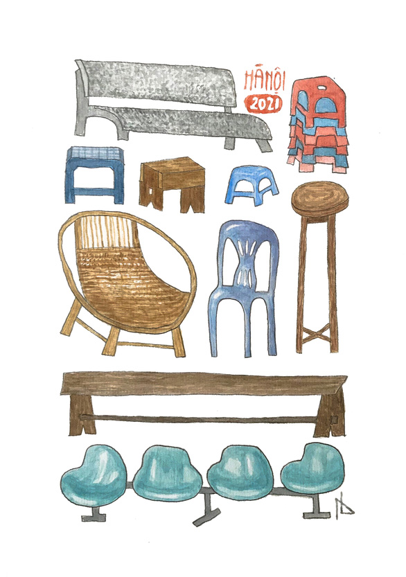 An award-winning artwork from Hoang Long Anh depicts an array of chairs frequently seen in Hanoi.
