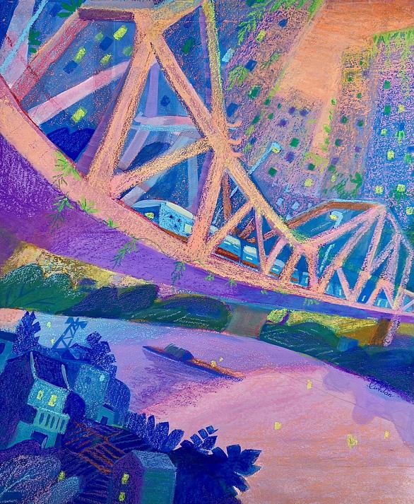 An award-winning artwork from Duong Linh Dan depicts the city's iconic Long Bien Bridge