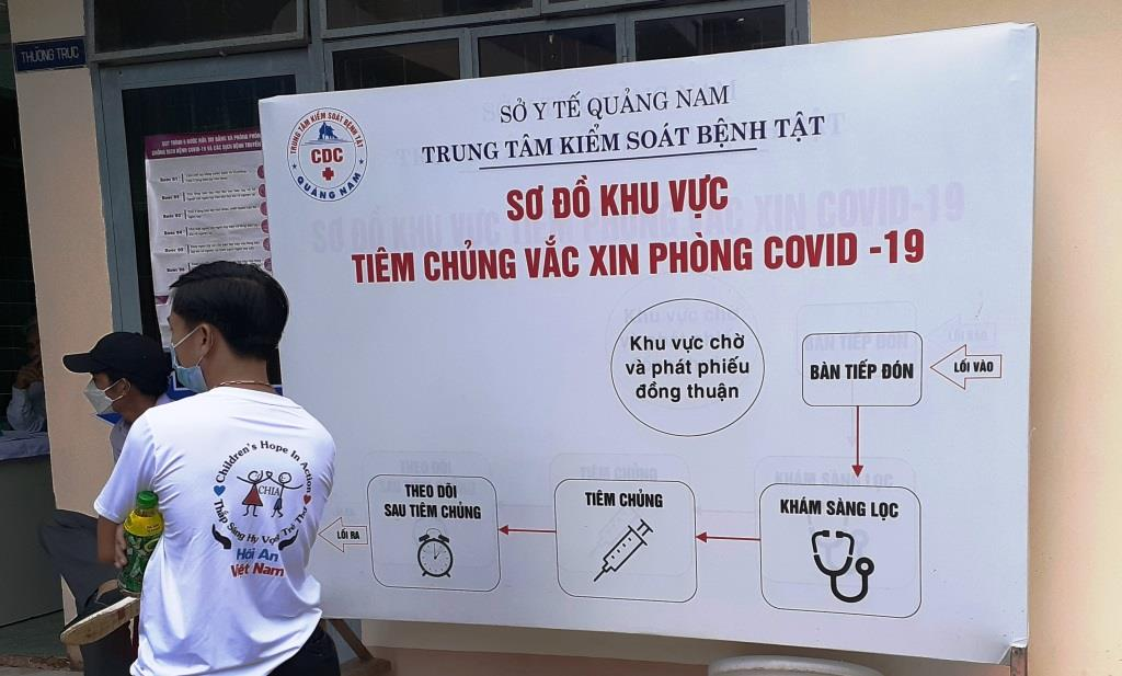 A chart shows the COVID-19 vaccination process at the Center for Disease Control in Quang Nam Province, Vietnam. Photo: Stivi Cooke