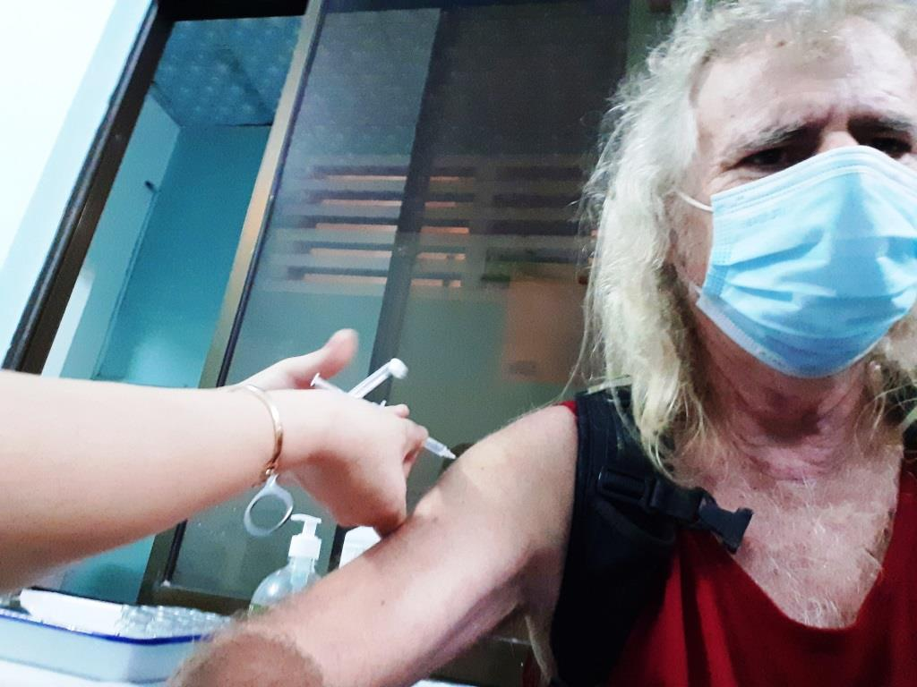 That's me getting my jab – tricky trying to get a selfie while bracing for a needle in your arm!