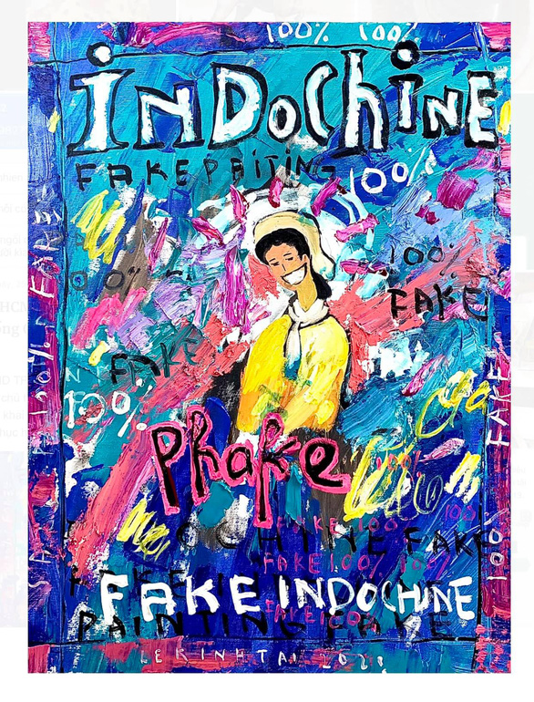 'Bia tap chi Tranh Dong Duong pha-ke' (Fake Indochine Art magazine cover,) satire artwork by Le Kinh Tai