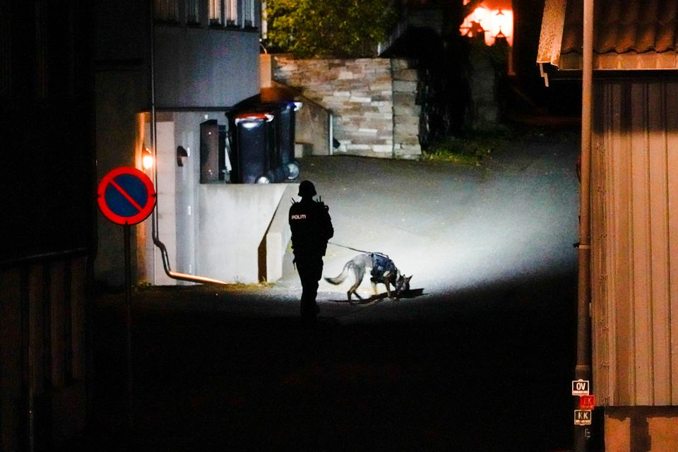 A police officer investigates after several people were killed and others were injured by a man using a bow and arrows to carry out attacks, in Kongsberg, Norway, October 13, 2021. Photo: Hakon Mosvold/NTB/via Reuters